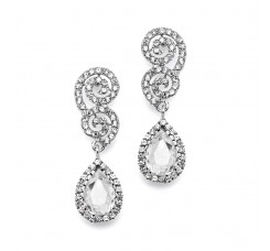 Crystal Scroll Wedding or Prom Earrings with Crystal Teardrop
