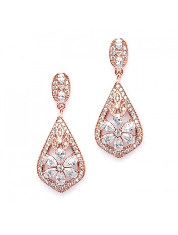 Sophisticated Rose Gold Art Deco CZ Wedding Earrings