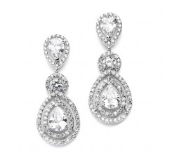 Magnificent Statement Earrings for Weddings and Pageants with Framed Pears