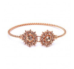 Rose Gold Crystal Sunburst Cuff Bracelet