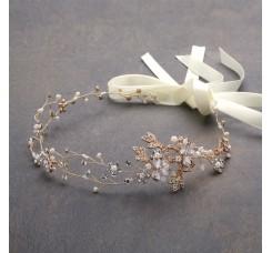 Handmade Bridal Headband with Painted Gold Vines