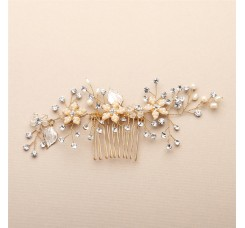 Bridal Hair Comb with Silvery Gold Leaves, Freshwater Pearl and Crystal Sprays
