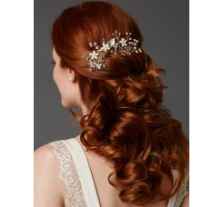 Bridal Hair Comb with Hand Painted Leaves, Freshwater Pearls and Crystals Sprays