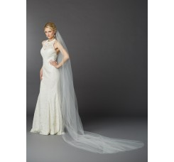 Royal Cathedral Length Single Layer Cut Edge Bridal Veil in Ivory