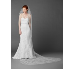 Royal Cathedral Length Single Layer Cut Edge Wedding Veil in White