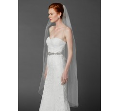 Ballet or Semi Waltz One Layer White Cut Edge Bridal Veil