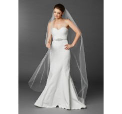 Chapel or Floor Length One Layer Cut Edge Bridal Veil in White