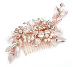 Bridal Hair Comb with Hand Painted Rose Gold Leaves and Pave Crystals