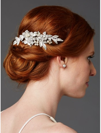 Bridal Hair Comb with Hand Painted Leaves and Pave Crystals