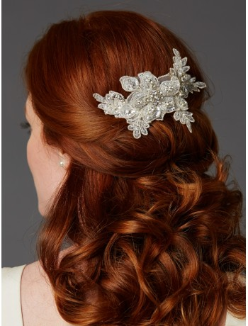Sculptured European Ivory Lace Bridal Comb with Crystals and Sequins