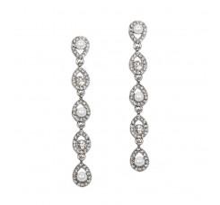 Linear Teardrop White Pearl and Crystal Dangle Earrings