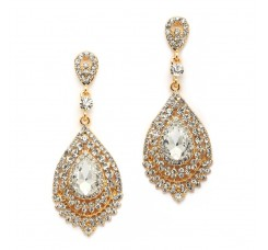 Dramatic Crystal & Gold Statement Earrings