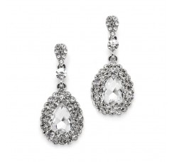 Dimensional Crystal Dangle Earrings for Brides or Proms