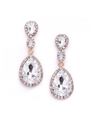 Rose Gold Crystal Teardrop Earrings with Braided Top