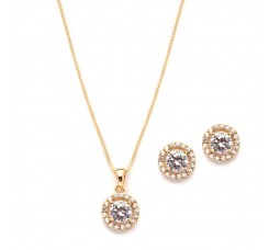Gleaming Cubic Zirconia Round Shape Halo Gold Necklace and Stud Earrings Set