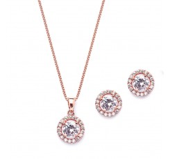 Gleaming Round Halo Cubic Zirconia Rose Gold Necklace and Stud Earrings Set