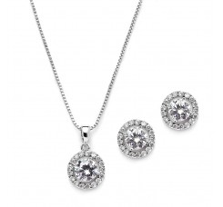 Gleaming Cubic Zirconia Round Shape Halo Necklace and Stud Earrings Set