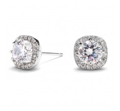 Cushion Shape 10mm Halo Stud Earrings with Round Cut Solitaire