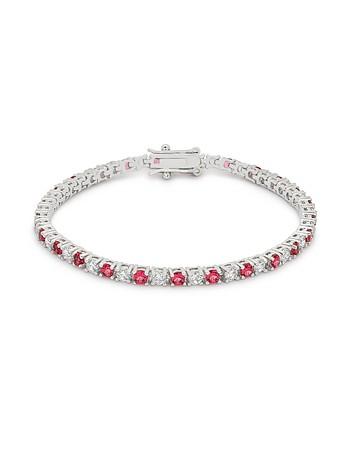 Ruby Red Cubic Zirconia Tennis Bracelet