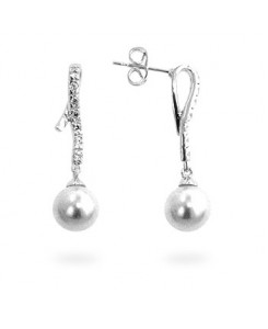 Pearl Cubic  Zirconia Dangle Earrings