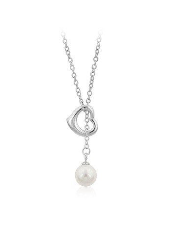 Heart Pearl Drop Necklace
