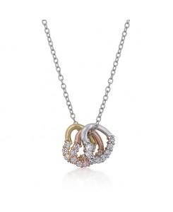 Tri-tone Hearts Cluster Necklace