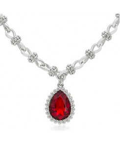 Ruby Red Solitaire Vintage Necklace