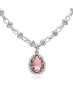 Pink Solitaire Vintage Necklace