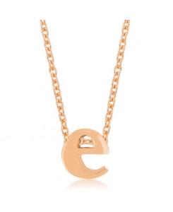 Rosegold Finish Initial E Pendant