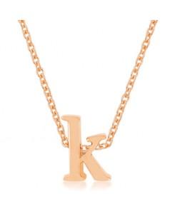 Rosegold Finish Initial K Pendant