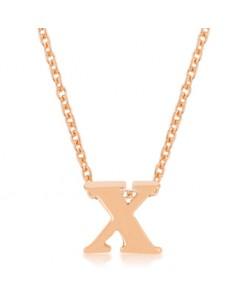 Rosegold Finish Initial X Pendant