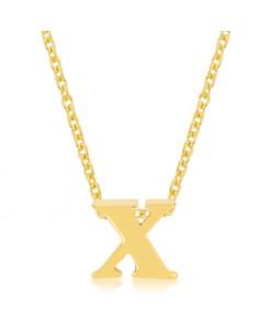 Golden Initial X Pendant