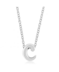 Silvertone Finish Initial C Pendant