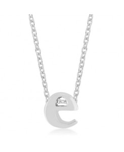 Silvertone Finish Initial E Pendant