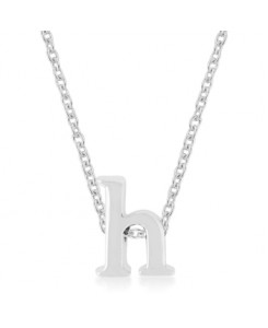 Silvertone Finish Initial H Pendant