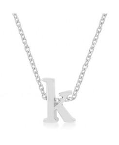Silvertone Finish Initial K Pendant