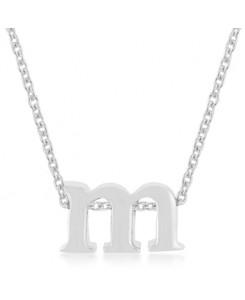 Silvertone Finish Initial M Pendant