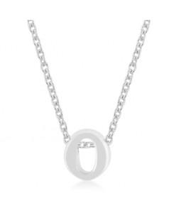 Silvertone Finish Initial O Pendant