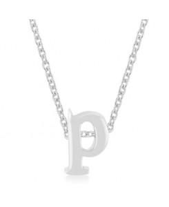 Silvertone Finish Initial P Pendant