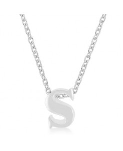 Silvertone Finish Initial S Pendant