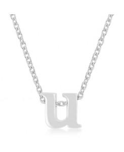 Silvertone Finish Initial U Pendant