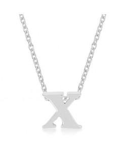 Silvertone Finish Initial X Pendant