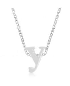 Silvertone Finish Initial Y Pendant