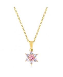 Goldtone Pink Cubic Zirconia Starburst Pendant