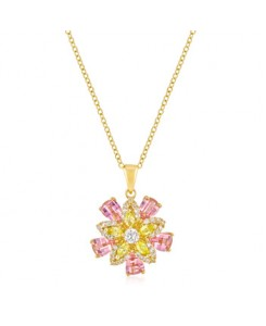 Goldtone Multi-Floral Pendant