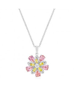 Silvertone Multi-Floral Pendant
