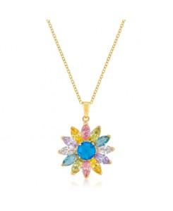Goldtone Colorful Flower Pendant
