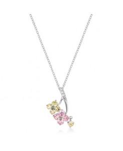 Silvertone Floral Couplet Pendant