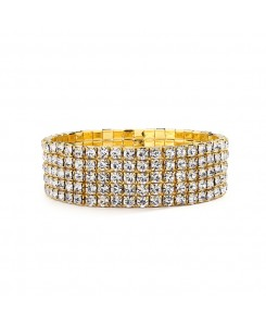 5-Row Stretch Gold Rhinestone Bracelet