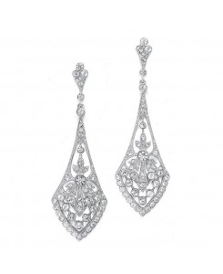 Dramatic Vintage Bridal Earrings in Cubic Zirconia